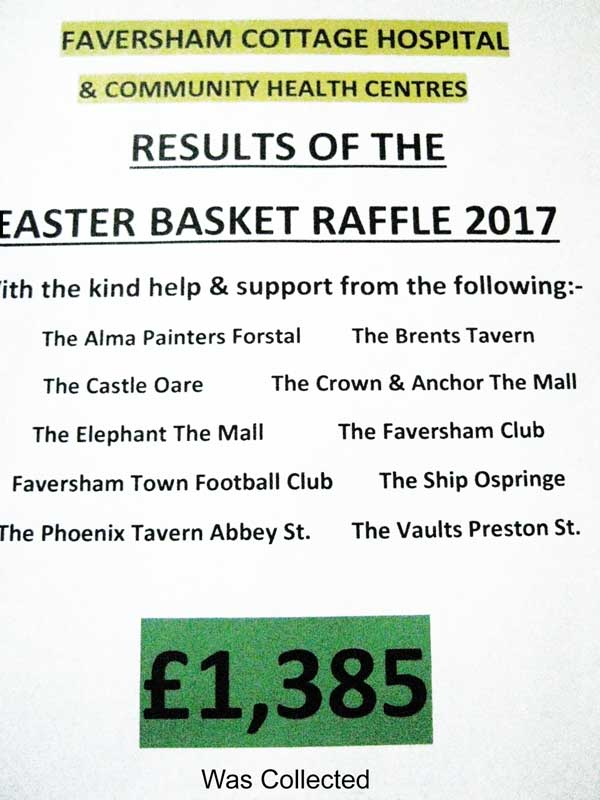 Read more about the article The Faversham Cottage Hospital & Community Centres<br> RESULTS OF THE EASTER BASKET RAFFLE 2017